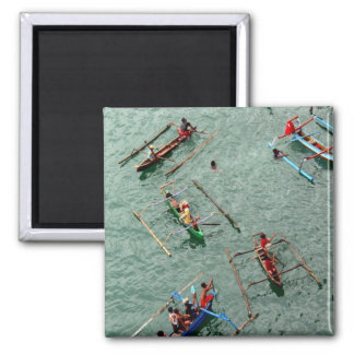 Boats in Indonesia 2 Inch Square Magnet