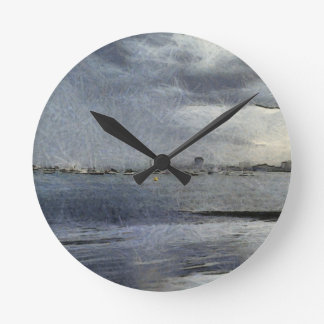 Boats in Melbourne Round Clocks