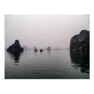 Boats in Misty Halong Bay Rock Islands, Vietnam Postcard