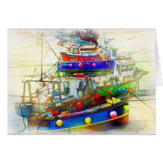 BOATS IN ST. IVES HARBOUR GREETING CARD