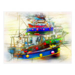 BOATS IN ST. IVES HARBOUR POSTCARD
