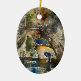 Boats in the Canals of Venice Italy Ceramic Ornament
