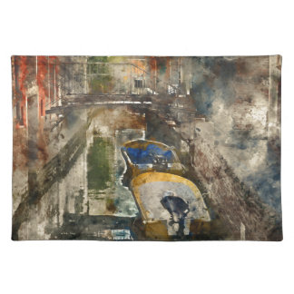Boats in the Canals of Venice Italy Cloth Placemat