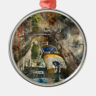 Boats in the Canals of Venice Italy Metal Ornament