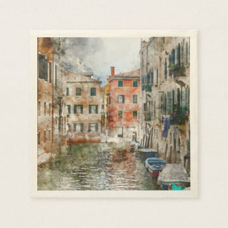 Boats in the Canals of Venice Italy Napkin