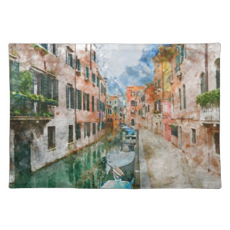Boats in the Canals of Venice Italy Placemat
