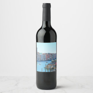 Boats in the Canals of Venice Italy Wine Label