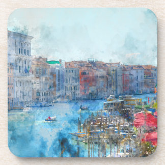 Boats in the Grand Canal in Venice Italy Coaster