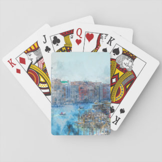 Boats in the Grand Canal in Venice Italy Playing Cards