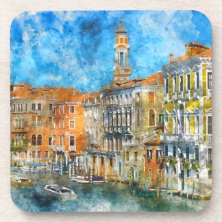 Boats in the Grand Canal of Venice Italy Beverage Coaster