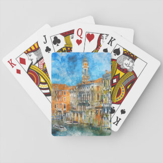 Boats in the Grand Canal of Venice Italy Playing Cards