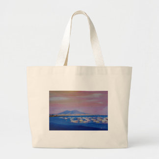 Boats in the Gulf of Naples Italy with Mount Vesuv Jumbo Tote Bag