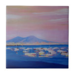 Boats in the Gulf of Naples Italy with Mount Vesuv Ceramic Tile