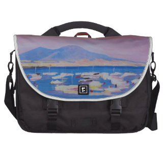 Boats in the Gulf of Naples Italy with Mount Vesuv Bags For Laptop