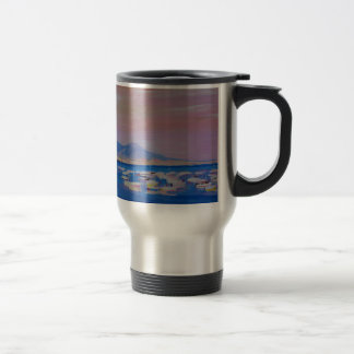 Boats in the Gulf of Naples Italy with Mount Vesuv Travel Mug