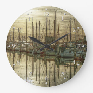 Boats in the Harbor Large Clock