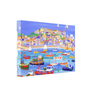 Boats in the Harbour, St Ives Stretched Canvas Print