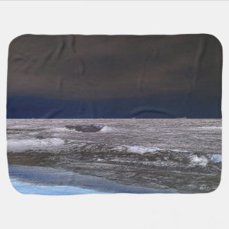 Boats in the ice sea from the coast baby blanket