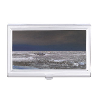 Boats in the ice sea from the coast business card holder