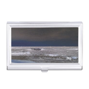 Beach Themed Boats in the ice sea from the coast business card holder
