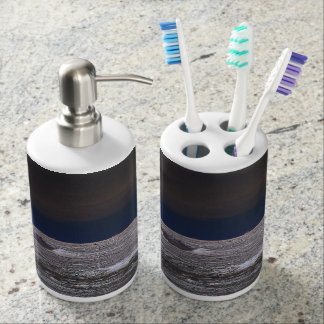 Boats in the ice sea from the coast soap dispenser & toothbrush holder