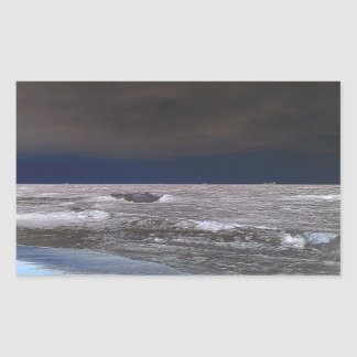 Boats in the ice sea from the coast rectangle stickers