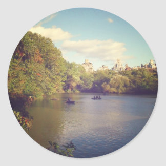 Boats in The Lake at Central Park, New York City Classic Round Sticker