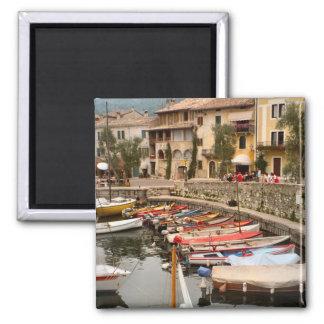 Boats in the marina at Menaggio 2 Inch Square Magnet