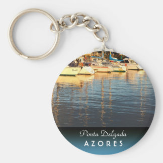 Boats in the marina basic round button keychain