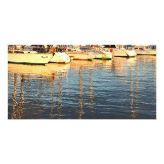 Boats in the marina photo card