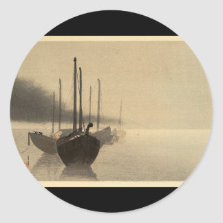 Boats in the Mist by Seitei Watanabe 1851- 1918 Classic Round Sticker