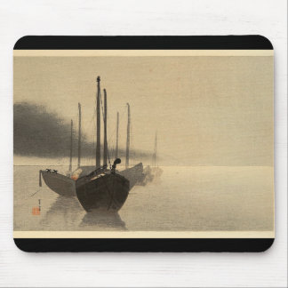 Boats in the Mist by Seitei Watanabe 1851- 1918 Mouse Pad
