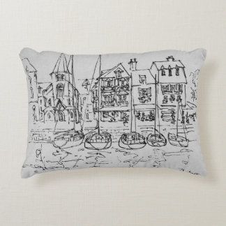 Boats in the Port at Honfleur | Normandy, France Decorative Pillow