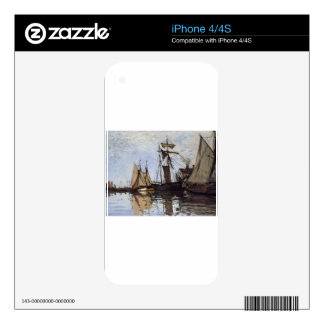 Boats in the Port of Honfleur by Claude Monet Decals For The iPhone 4