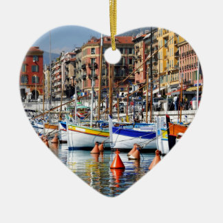 Boats in the port of Nice in France Ceramic Ornament