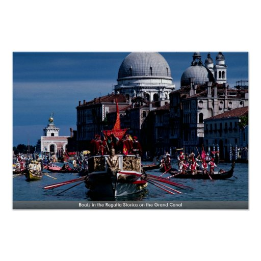 Boats in the Regatta Storica on the Grand Canal Print