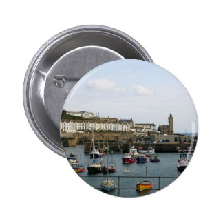 Boats in the village harbour 2 inch round button