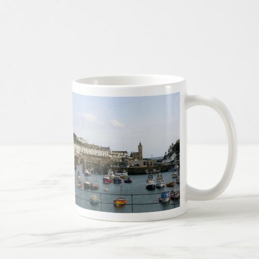 Boats in the village harbour mugs
