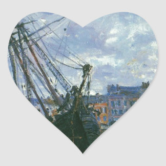 Boats Lying at Low Tide at Facamp by Claude Monet Heart Sticker
