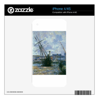 Boats Lying at Low Tide at Facamp by Claude Monet iPhone 4 Decal