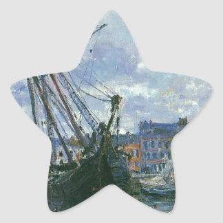 Boats Lying at Low Tide at Facamp by Claude Monet Star Sticker