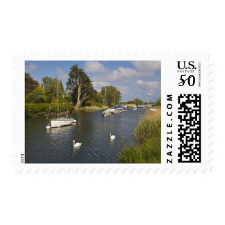 Boats moored on the River Frome, Wareham, Postage