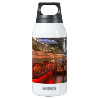 Boats moored on water at Clarke Quay 10 Oz Insulated SIGG Thermos Water Bottle