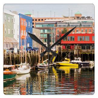 Boats Moored | Portland, Maine Square Wall Clock