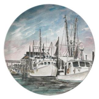 boats nautical art plate