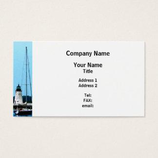 Boats near Lighthouse, Bristol, RI Business Card