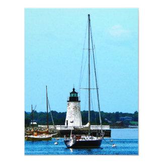 Boats near Lighthouse, Bristol, RI Card