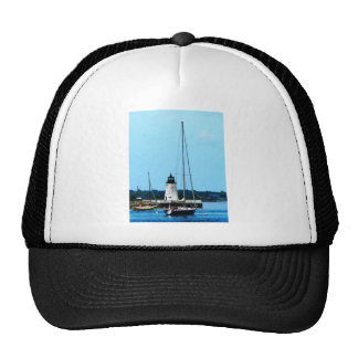 Boats near Lighthouse, Bristol, RI Trucker Hat
