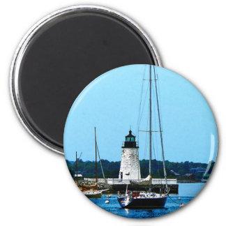 Boats near Lighthouse, Bristol, RI Refrigerator Magnet
