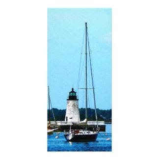 Boats near Lighthouse, Bristol, RI Rack Card